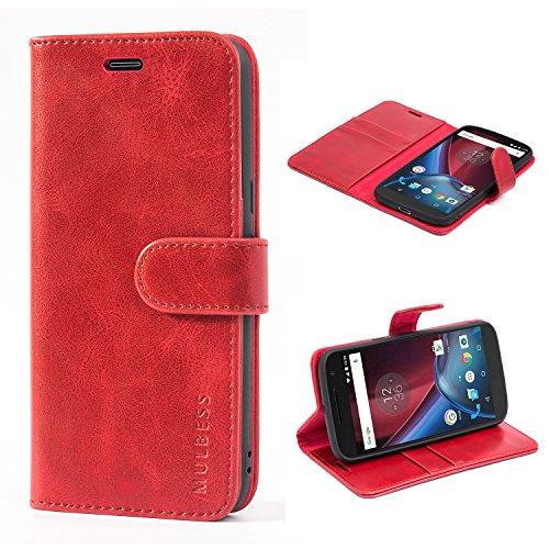 Mulbess Handyhülle für Moto G4 Hülle, Moto G4 Plus Hülle, Leder Flip Case Schutzhülle für Motorola Moto G4 / G4 Plus Tasche, Wein Rot
