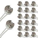 Pack of 20,G5.3 / GU5.3 / MR16 / G4 / MR11 Round Ceramic LED Halogen Lamp Light Bulb Socket Holder Base Wire Connector Adapter MR16 (20 Pack)