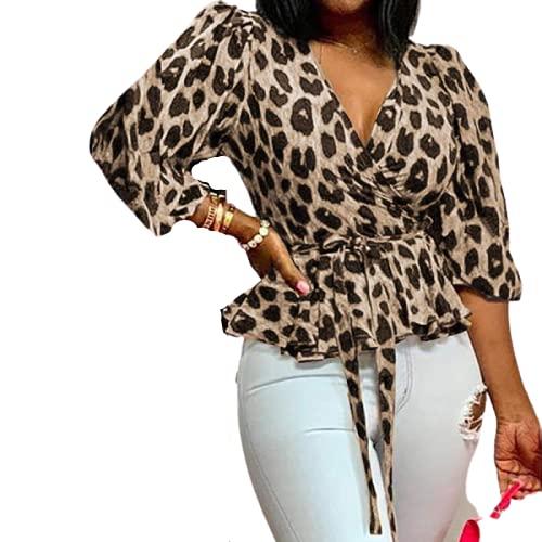 Blusa túnica con Estampado de Puntos para Mujer, Blusa Holgada de Media Manga con Cuello en V y Personalidad a la Moda, Blusa cómoda Informal para Todos los Partidos M