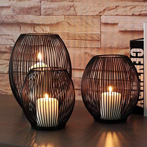 SUNJULY Portavelas Retro Negro, 1 PC romántico candelabro de Metal con Forma de Linterna Ovalada Decoración con Velas para habitación Hotel Cena Bodas Navidad, 16.7x16.7x18cm(M)