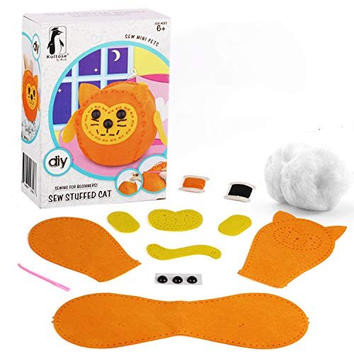 Koltose by Mash Sew Mini Cat Craft Kit for Kids – Sew and Stuff Mini Pet Kitty Cat Décor Doll for Children, Sewing Craft for Beginners, DIY Kitten Craft for Girls