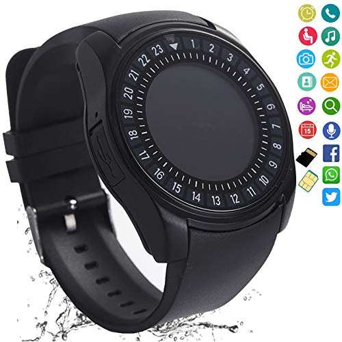 FashionLive Smart Watch Bluetooth Smartwatch Touch Screen Camera Pedometer SIM Card Slot Text Call Sync Women Men Kids Phone Mate Compatible with Android iOS Mobile Cell Phones (Black)