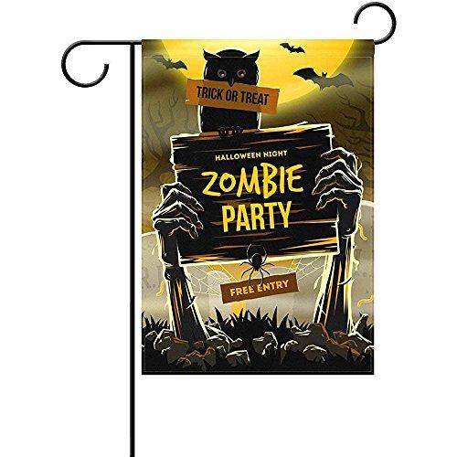 KDU Fashion Seasonal Garden Flags,Halloween-Zombie-Party-Garten-Flaggen-Schläger Doppelseitig Für Jahrestags-Tätigkeits-Festival-Dekor 45Cmx30Cm