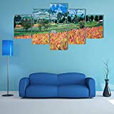 AAAKK Tabella Decorazione Domestica Parete - Quadro Moderno - campi coltivati a Quinoa - 5 Pezzi XXL Decorazione Murale - Stampa su Tela Salotto Appartamento - pronta per Essere appesa
