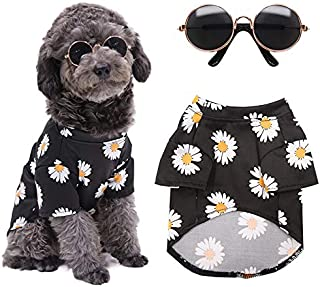 Yu-Xiang 2 Pcs Daisy Dog Clothes with Sunglasses Pet Costume Cat Hoodies to Go Hiking for Cats Teddy Small& Medium Dogs Su...