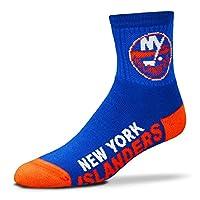 For Bare Feet Men's NHL Quarter Socks-New York Islanders-Large(10-13)