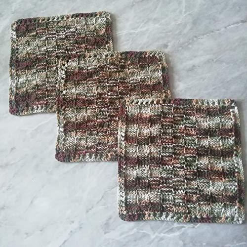 Knitted Dish Cloths Handmade 3-Piece Hand Knit Dishwashers Reusable Dish Rack Reusable Washcloth
