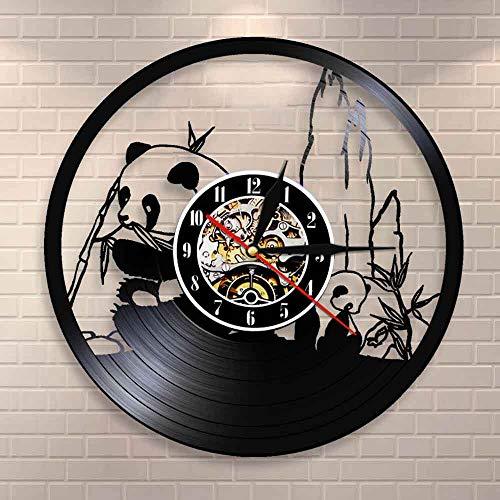BFMBCHDJ Entzückende Riesenpanda-Uhr Wilder Panda-Bär, der Bambus-Vinyl-Schallplatten-Wanduhr isst Netter Panda Wohnkultur Tiere Vintage-Uhr