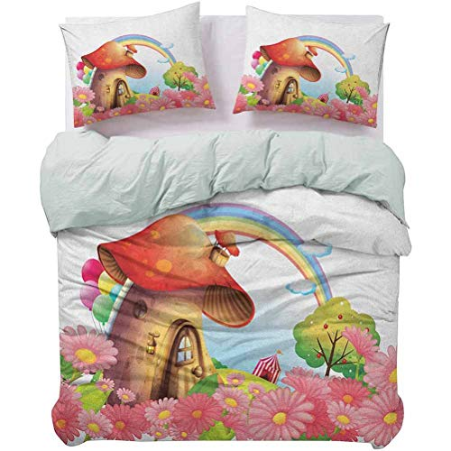 UNOSEKS LANZON Bedding Duvet Cover Set Little Shroom House in Garden of Flowers Rainbow Fruit Trees Circus Tent Balloons Duvet Cover Shrinkage and Fade Resistant - Easy Care Multicolor, Queen Size