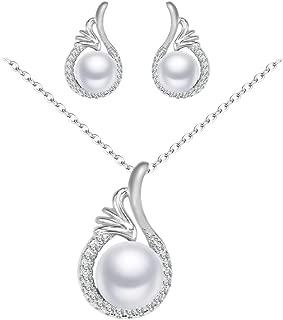 Grace Femmes Filles Blanc Perle Collier Boucles d/'oreilles Chaîne Argent Or Bijoux Set