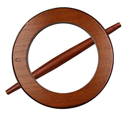 Raffhalter Gardinenspange aus Holz, rund mit separatem Stift, Farbe wählbar (Braun)