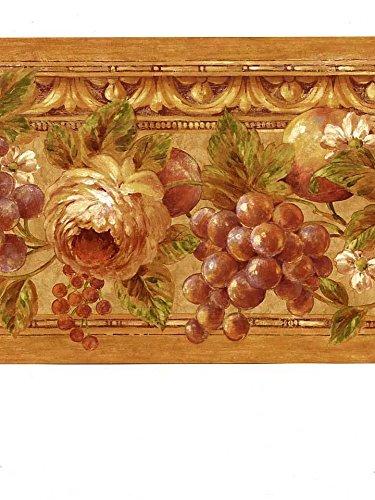 Wallpaper Border Tuscan Grapes & Roses Green Lavender Copper Burgundy Orange