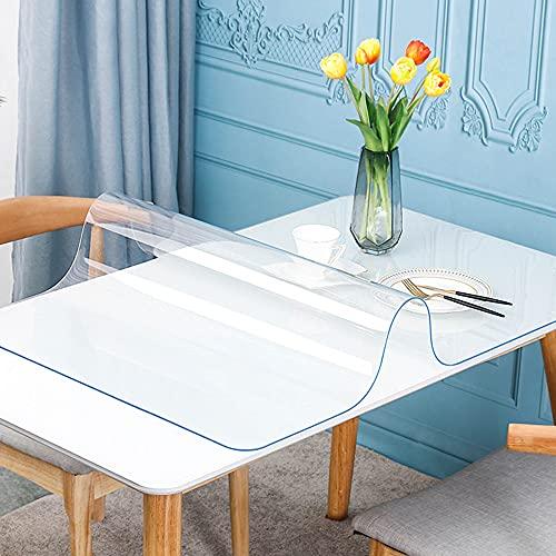 Mantel transparente, tapete de protección antimanchas para escritorio, tapete de protección de escritorio resistente al calor, cubierta de mesa de cristal transparente, para muebles, cocina, ofic