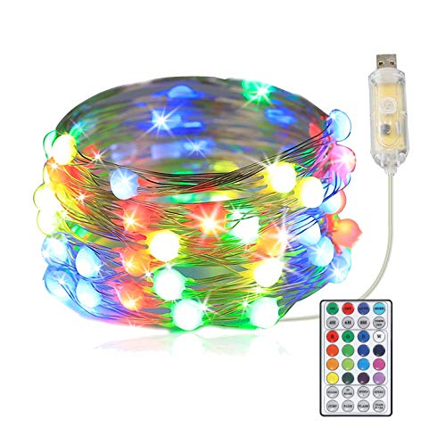 LED Lichterkette Bunt,10M 100LED Lichterkette Außen,KIPIDA Lichterkette Dimmbar,USB led Lichterkette mit GRB Controller für Raum &Party im Freien und Weihnachtsbaumdekoration Lichterkette Led Draht
