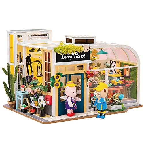 Robotime Puppenhaus Möbel & EIN Paar Teddybär Puppen - 1/24 Skala DIY Miniatur Geschenk für Mädchen (Flower Shop)