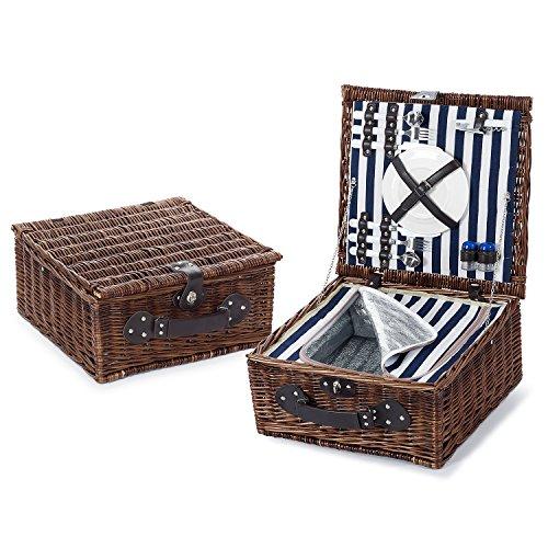 ExtraGourmet Luxus Picknickkorb mit Thermobehälter für 2 Personen, Naturgeflecht 41x41x20 cm