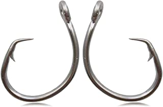 AGOOL Tuna Circle Fishing Hook 39960 Stainless Steel 2X Strong Saltwater Fish Short Shank Circle Hook 20pcs/Pack Size: 1/0-11/0