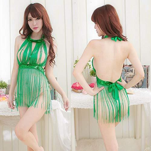 HLZJ Sexy erotische Dessous Dessous für Frauen sexy Sexy Pyjama-Set mit Fransen, nackt, dünn, verführt, Dreipunkt-Erotik-Dessous-Grün_One-Größe