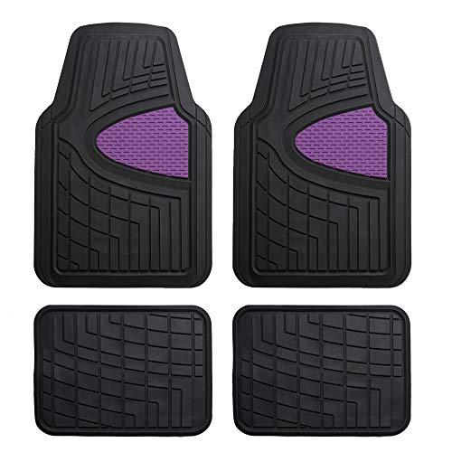 FH Group Purple F11311PURPLE Rubber Floor Mat(Heavy Duty Tall Channel, Full Set Trim to Fit)