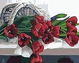RJDHNGAK Adultos Pintura por numeros Flor De TulipáN Rojo DIY Pintura por Números de Kits con 3 Pinceles y Pinturas Acrilicos Cuadro Pintar para Adultos Principiantes 40x50cm