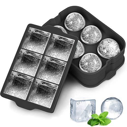 QcoQce Eiswürfelform Silikon 2 Packs, 45mm Eiskugelform und 48mm Quadratische Form, BPA Frei Eiswürfel Form für Family, Party und Bars für Whisky Cocktails Saft Schokolade Süßigkeiten