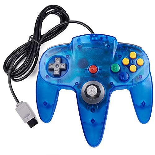 miadore Classic N64 Controller, Wired N64 64-bit Gamepad with Upgraded Joystick Remote for N64 Video Games System N64 Console-Transparent Blue