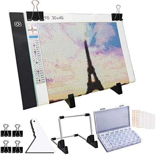 Toolacc Kit de tablero de luz LED A4 de pintura de diamante, con soporte desmontable y clips y caja de almacenamiento para aplicar a taladro completo y taladro parcial 5D pintura de diamante