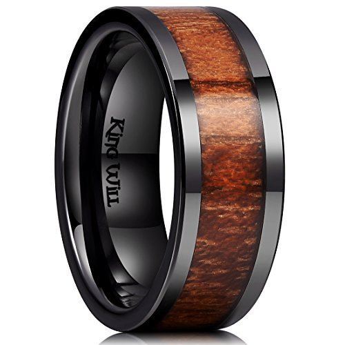 King Will Nature 8mm Black Koa Wood Ceramic Ring Wedding Band Polished Finish Comfort Fit Flat Style10