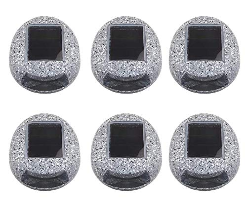 GYC Lawn Lamp for Patio Yard Walkway Ground Buried Decor, 6 Pack Solar Resin Rock Spot Light, Outdoor Lights Garden, Stone Shaped Waterproof LED Lighting -