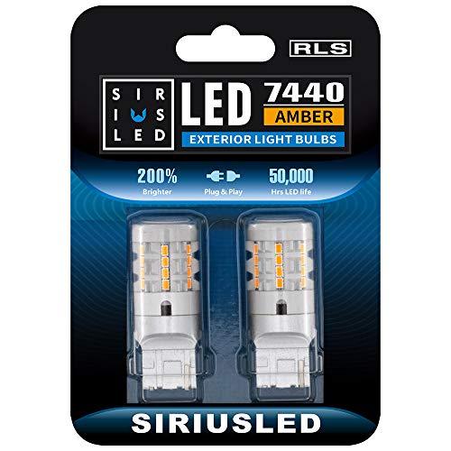 SIRIUSLED RLS 7440 7440A Built in Resistor Anti Hyper flashing LED Bulb Turn Signal Light Amber Orange Color Full Aluminum Body Single Filament Error Free Pack of 2