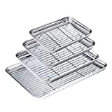 WEZVIX Baking Sheet with Cooling Rack Stainless Steel Set of 4 Cookie Sheets and Rack Set Oven Tray Pan Rectangle Size, Non Toxic & healthy, Rust Free & Less Stick, Easy Clean & Dishwasher Safe