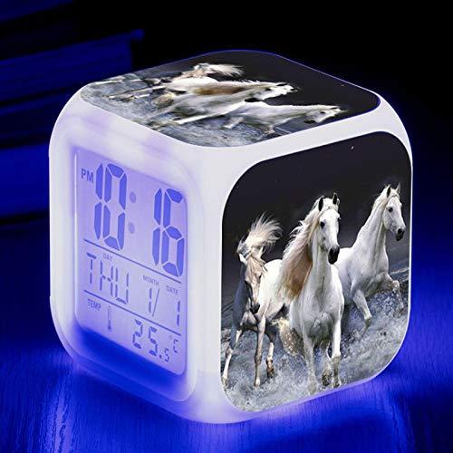 Juguete Despertador Personalizado Running Horse Alarm 7 Reloj Led Brillante Cambio De Color Reloj Despertador Digital Para NiñOs Regalo De CumpleañOs Reloj ElectróNico Multifuncional Amarillo