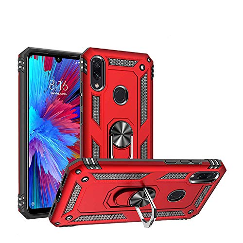 Newseego Funda Compatible con Xiaomi Redmi Note 7/Note 7 Pro, Armor Carcasa Protector con 360° Anillo Iman Soporte Fundas Carcasas Case para Redmi Note 7/Note 7 Pro - Rojo