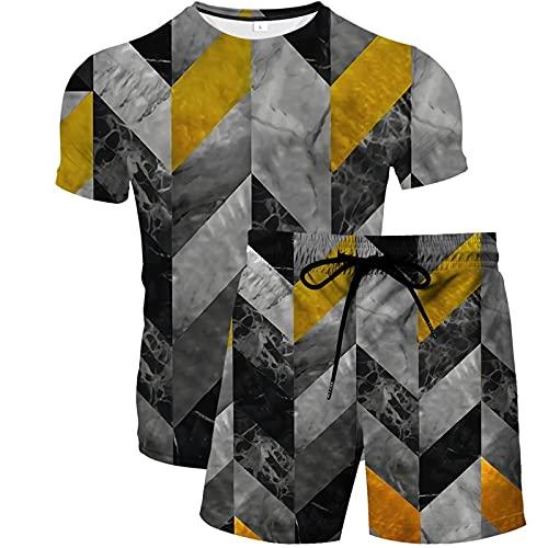 Camisetas para Hombre de Manga Corta y Pantalones Cortos de Playa 2 Trajes para Hombre Corto Loungewear Diamante Geométrico L