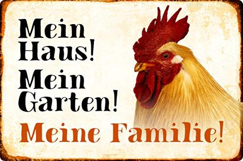 Blechschild 20x30cm gewölbt Huhn Hahn Mein Haus Garten Meine Familie Deko Geschenk Schild