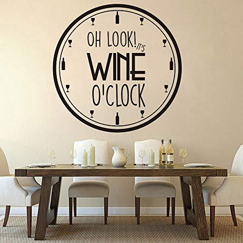 ASFGA Einzigartig rund ist Dies Wein Vinyl Wandaufkleber Küche Restaurant Dekoration Weinmuster abnehmbare Wandtattoo Uhr Mahlzeit Mahlzeit Home Interior Kunst 84x84cm