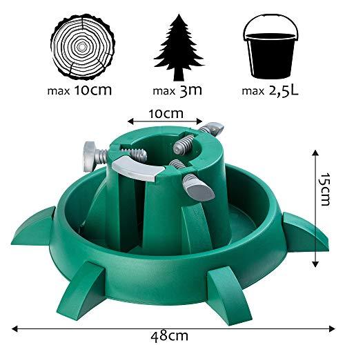 KADAX Weihnachtsbaumständer mit Wassertank, moderner Christbaumständer aus robustem Kunststoff für Bäume, Tannenbaumständer, Verschiedene Großen, stabil, grün (Baumhöhe bis 3m)