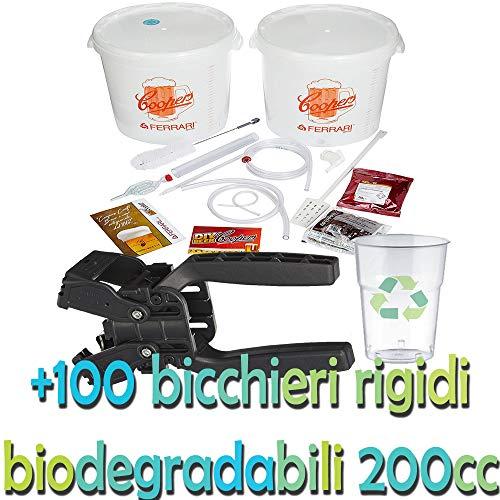 Palucart Kit Birra artigianale Coopers fai da te ferrari con malto A SCELTA + 1 TAPPATRICE CAPSULATRICE a 2 leve + 100 bicchieri rigidi 200 cc BIODEGRADABILI in OMAGGIO