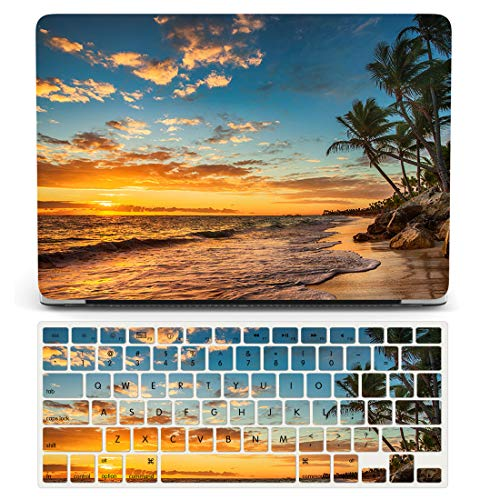 One Micron Case+Keyboard Cover for MacBook Pro 15 Inch Case Rubberized Hard Case Scratch Guard Cover for MacBook Pro 15''with Touch Bar(A1707/A1990)-Beach View