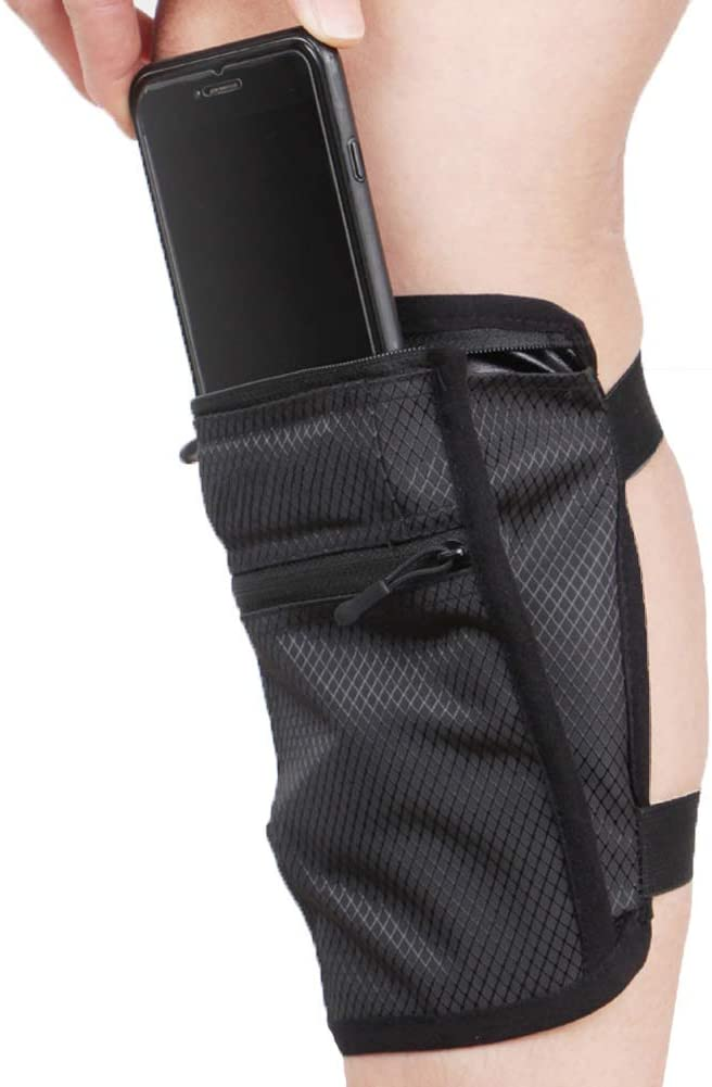 Ailzos Cell Phone Calf/Leg Band Holster for Riders and Hikers, Non-Slip Band Smartphone Holder for All Phones with Adjustable Velcro, Sport Leg Band for Running, Walking, Equestrian, Motorcycle, Black