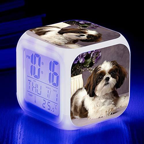 Totots Reloj Despertador Cuadrado Shih Tzu, lumino Creativo LED de Alarma Perro Animal, Anime Colorida Luz de Noche, Reloj Perezoso Snooze, Decoración de la Casa Creativa
