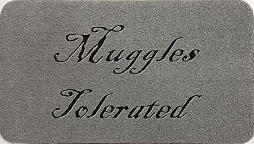 Muggles - Felpudo de fibra de coco sintético de nailon, color gris claro, marrón, crema, verde