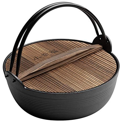 Emaille Beschichtet Gusseisen Topf,verdicken Sie Japaner Sukiyaki Suppenauflauf Mit Holzbezug Zum Campingkochen Feuer Eröffnen Gas Sicher-a 25cm