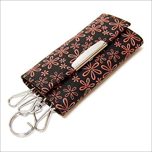 印傳屋 印伝 レディース キーケース (キーホルダー) 4702 黒×ピンク 日本製 和風 和柄 通販 ギフトに。 (雪割草)