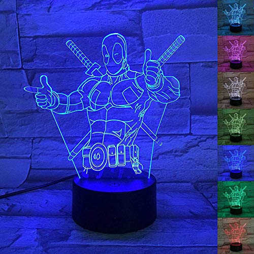 UMIWE 3D Optical Illusion Lamp, 3D Star Wars Force Awaken R2 robot Led Effect Night Light Desk Lamp 7 Color-changing Touch Lamp for Wedding Birthday Valentine Children Gifts and Home Decor (Deadpool)