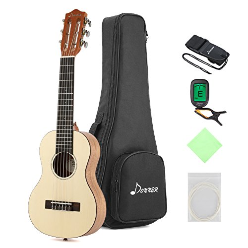 Donner Guitalele DGL-1 28'' Travel Guitar Ukulele Package 6 String Ukulele Spruce Mahogany Body