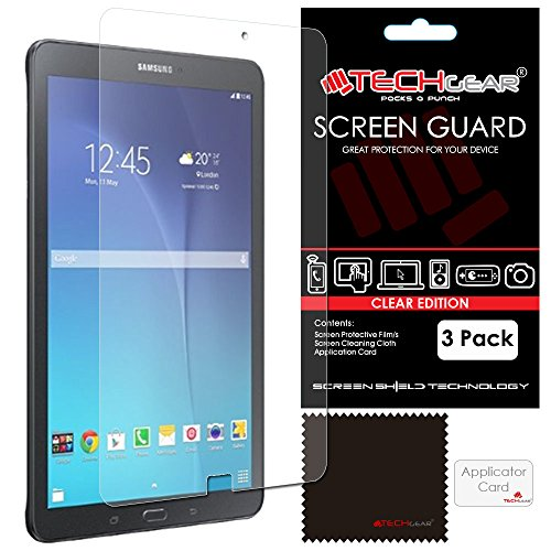 TECHGEAR [3 Pack] Screen Protectors for Samsung Galaxy Tab E 9.6 Inch - Clear Lcd Screen Protectors for Galaxy Tab E 9.6' (SM-T560, SM-T561, SM-T565) With Cleaning Cloth & Application Card