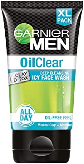 Garnier Men Oil Clear Face Wash | Clay D-Tox Deep Cleansing Icy Face Wash for Oily Skin, 150gm