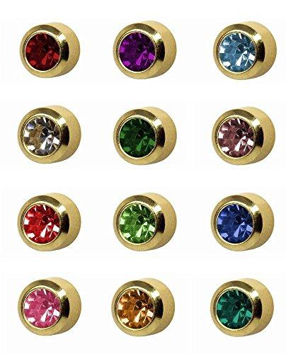 12 Paires Studex Pierres De Naissance Régulier 4mm Or Plaqué Lunette Réglage Oreille Piercing Boucles D'oreilles
