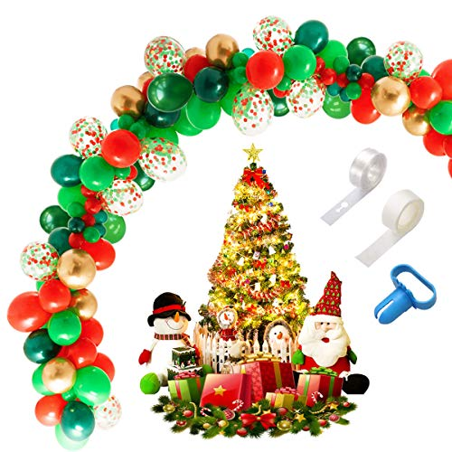 Christmas Balloon Arch Garland Kit, 113pcs 16Ft Long Green Red Gold and confetti Latex Balloons with Tying Tool, Balloon Strip Tape and Sticky Dots, Great for Party Decoration Supplies